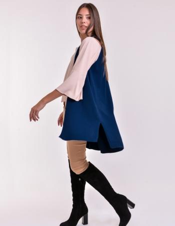 chaleco largo mujer azul