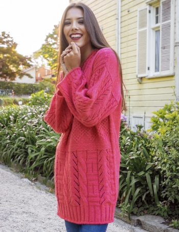 sweater largo con capucha mujer rojo