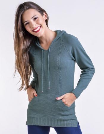 canguro tejido con capucha mujer