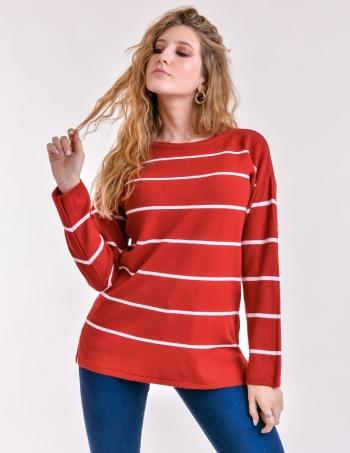 sweater rayado mujer rojo