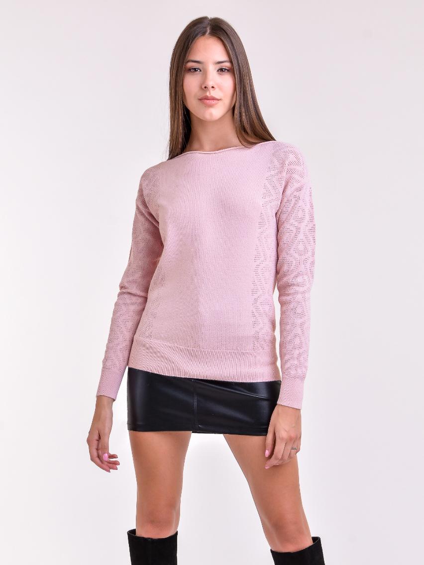 sweater calado mujer rosa