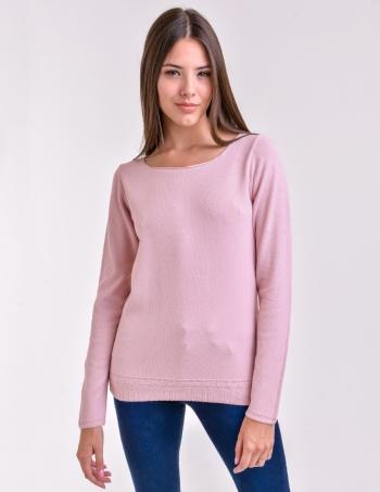 sweater cuello redondo mujer rosa