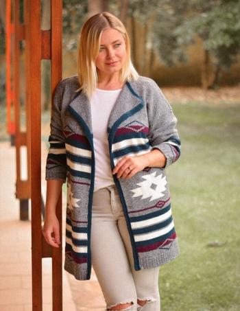 saco tejido estilo navajo mujer gris