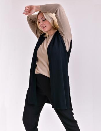 chaleco largo tejido mujer negro